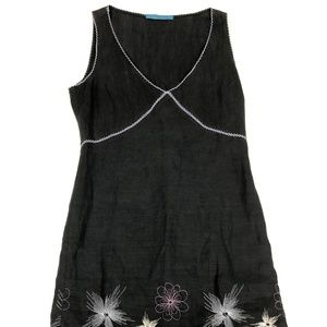 Johnny Was Size M Black Linen Embroidered Dress